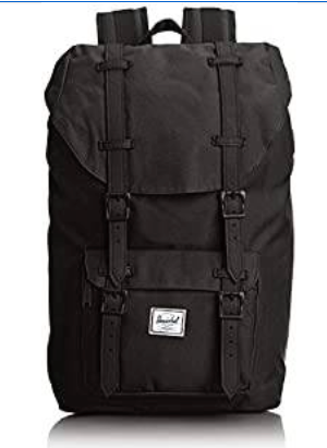 HERSCHEL LITTLE AMERICA LAPTOP BACKPACK, BLACK RUBBER, CLASSIC 25.0L