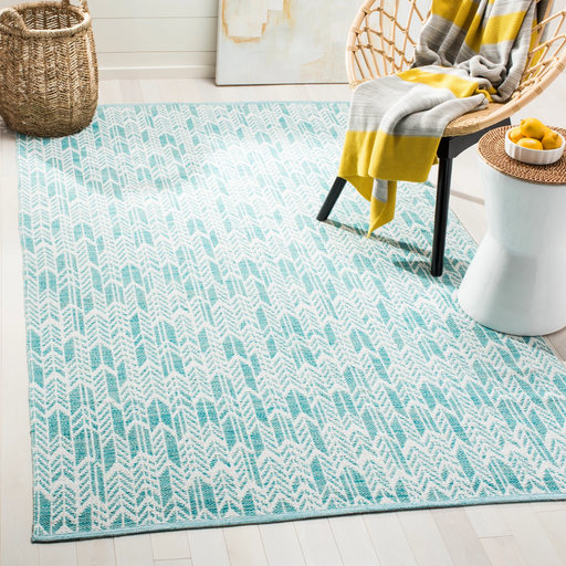 Size 5'X8' Color Aqua/Ivory Shelly Woven Rug - Safavieh