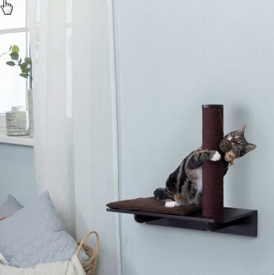 "Trixie Wall Mounted Relaxing Base with Scratching Post Espresso Cat Furniture, 20.25"" H"