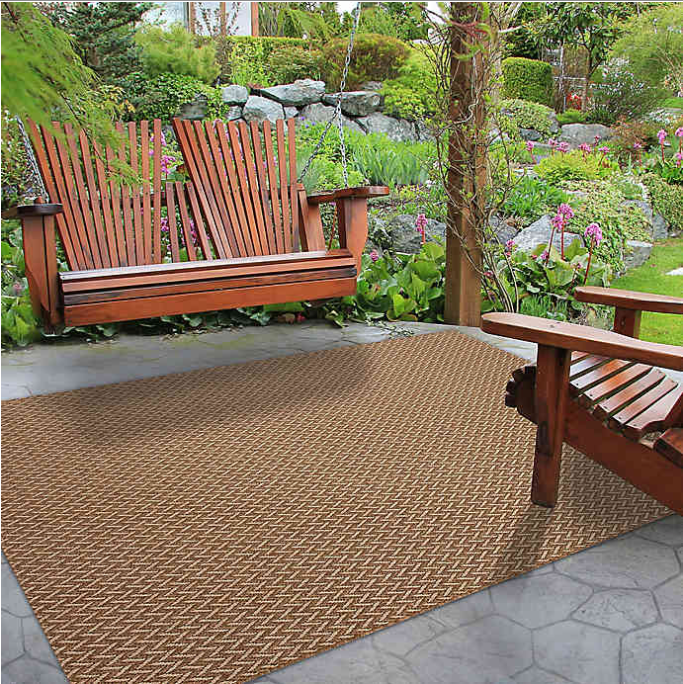 7'10 x 10' Indoor/Outdoor Area Rug in Brown