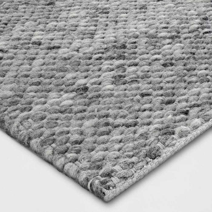Color Gray 5x7 Chunky Knit Wool Woven Rug