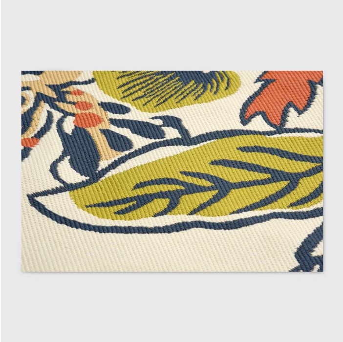 5'X7' Color Citron Party Floral Outdoor Rug
