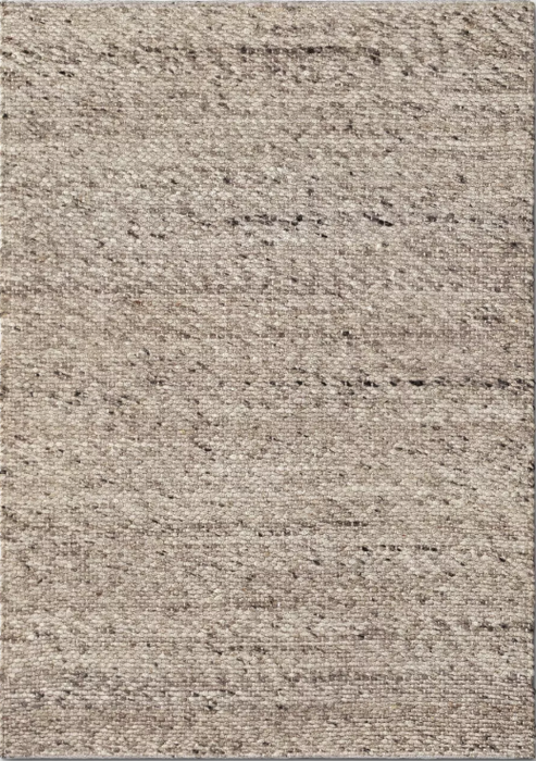 5'X7' Color Cream Chunky Knit Wool Woven Rug