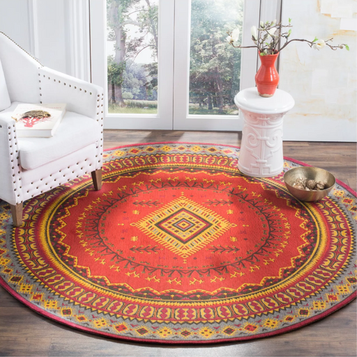 Size 6' ROUND Color Red/Slate Pomona Loomed Rug - Safavieh