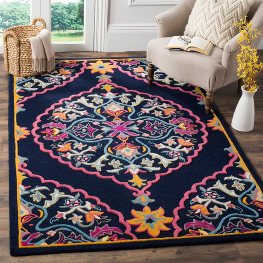 Size 8'X10' Color Navy Blue Erin Medallion Area Rug - Safavieh