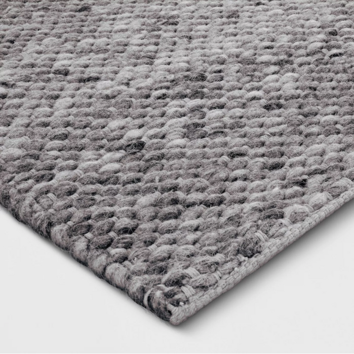 Size 9'X12' Color Charcoal Heather Chunky Knit Wool Woven Rug - Project 62™