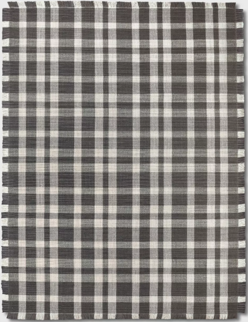 Size 9'X12' Color Gray/Grey Wool Buffalo Plaid Rug - Threshold™
