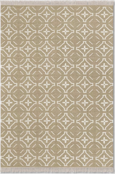 Size 7'X10' Color Buff Beige Geometric Woven Kilim Rug - Threshold™