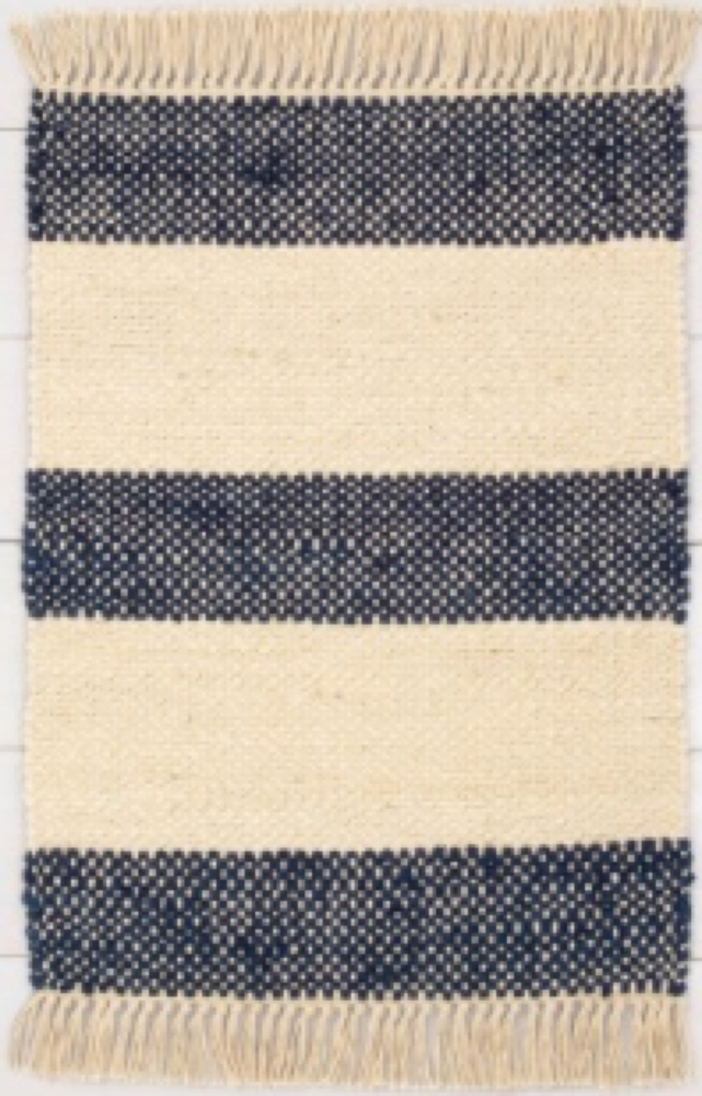 9x12 Jute Stripe Rug with Fringe Navy/Cream - Hearth & Hand™ with Magnolia