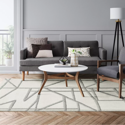 Size 7'X10' Color Light Off-White Geometric Tufted Rug - Project 62™