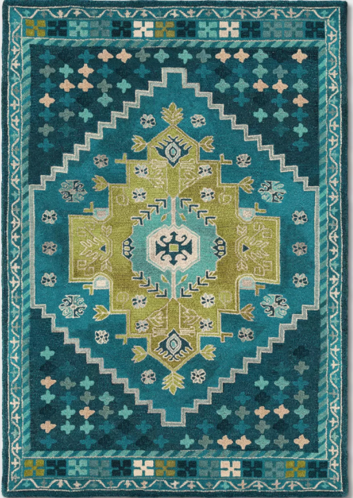 Size 7'X10' Color Teal Blue Persian Wool Tufted Area Rug - Opalhouse™
