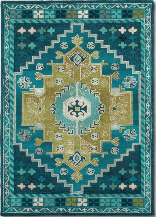 Size 5'X7' Color Teal Blue Persian Wool Tufted Area Rug - Opalhouse™