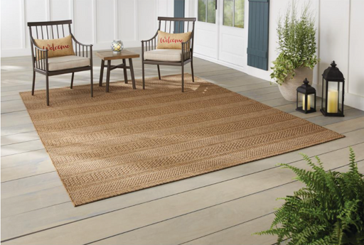 Hampton Bay Natural Tan 5 ft. x 7 ft. Striped Indoor/Outdoor Area Rug