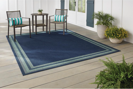 Hampton Bay Border Navy Aqua 5 ft. x 7 ft. Indoor/Outdoor Area Rug