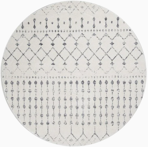 nuLOOM 5 x 5 Gray Round Indoor Geometric Moroccan Area Rug