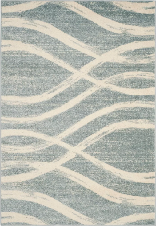 Size 6'X9' Color Cream/Slate Tracy Wave Accent Rug - Safavieh