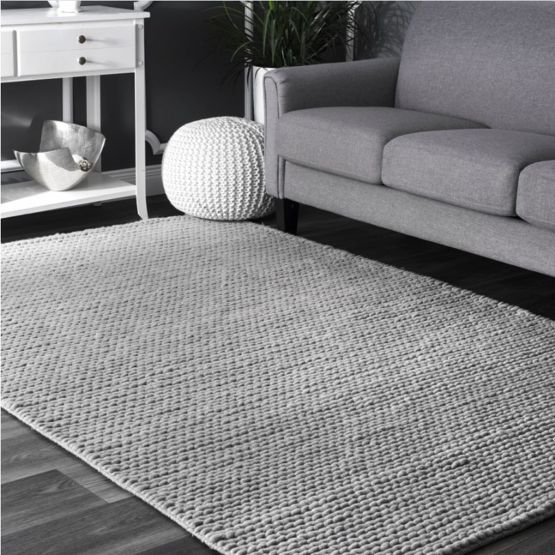 8x10 Color Light Gray Braided Area Rug
