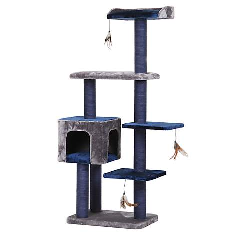 "PetPals Group Midnight Molly Navy Cat Tree With Three Hanging Teaser, 23"" L X 15"" W X 61"" H"