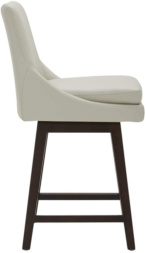 CHITA Counter Height Bar Stool, Faux Leather Upholstered Swivel Stool with Back & Solid Wood Legs