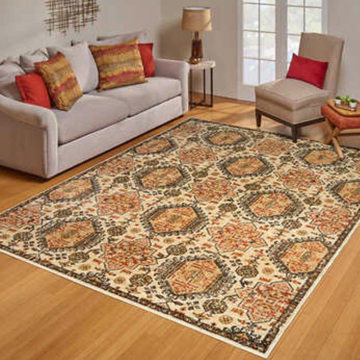 New! 7x10 Area Rug Ivory,Olive Greens, Rusts in a Beautiful Pattern $125