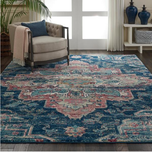 "Size 7'10"" x 10'6"" Color Navy/Pink Fusion Oushak Area Rug by Nourison"