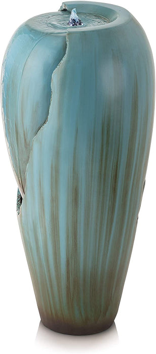 Alpine Corporation DIG100XS Water Jar Fountain w/LED Light, 32 Inch Tall, Turquoise