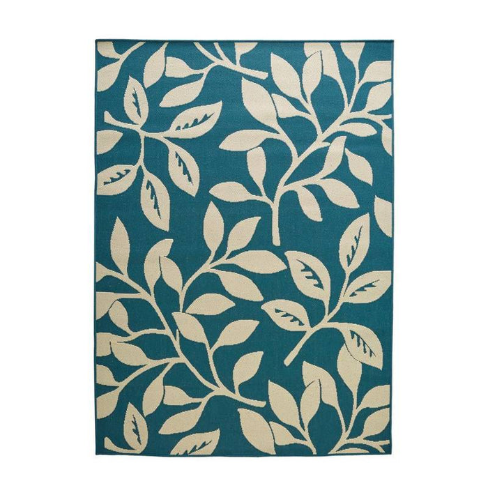 7 ft x 11 ft Indoor / Outdoor Cream/Teal Floral Flat Woven Weave Area Rug