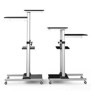 Mobile Standing Desk - Rolling Workstation Cart - Stand Up Media Podium Mobile Desk - Height Adjustable Presentation Computer Cart