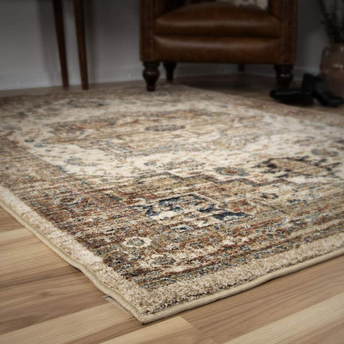 "Size 6'5"" x 9'6"" Heriz Medallion Off White By Orian Rugs"