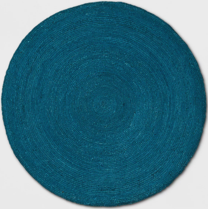 5' ft Round Solid Braided Jute Area Rug Teal Blue - Opalhouse™
