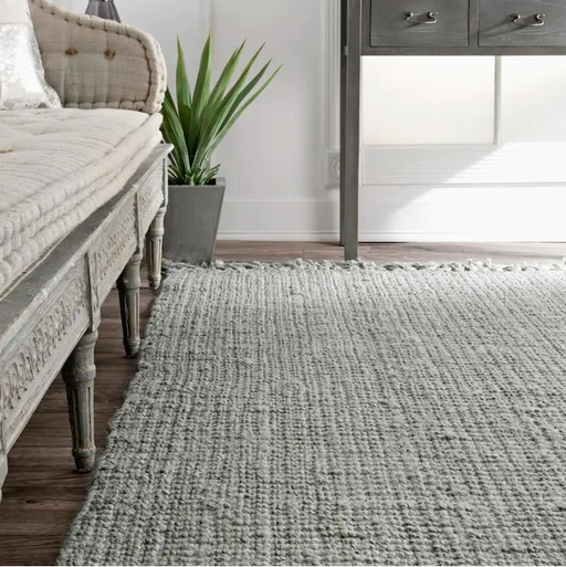 nuLOOM Chunky Loop 5 x 8 Gray/Grey Indoor Stripe Handcrafted Area Rug