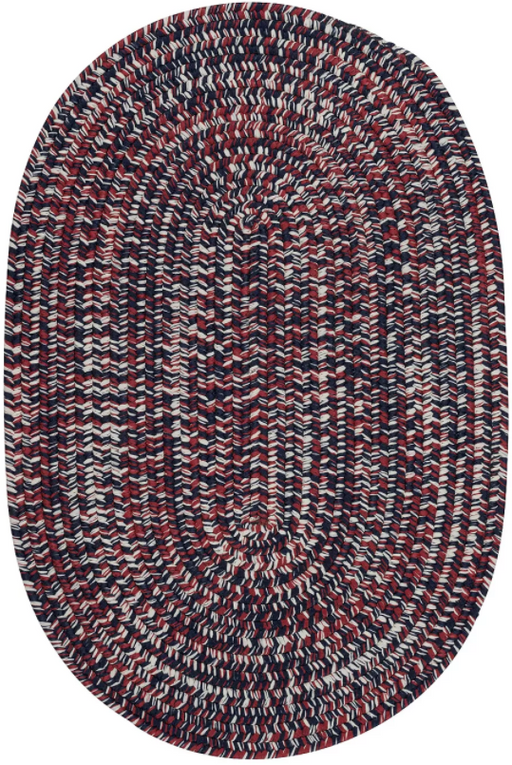 2'x3' Oval Color Navy Nantucket Tweed Braided Area Rug - Colonial Mills