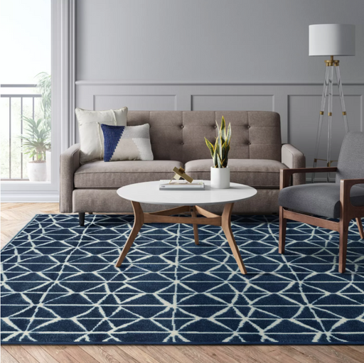 "Size 9'2""X12' Color Navy Reflections Gridwork Woven Area Rug - Project 62™"