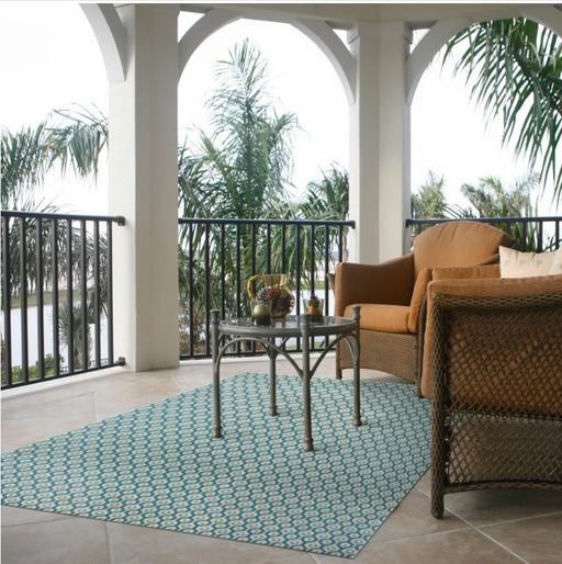Size 7'x10' Color Teal Hex Geo Outdoor Rug - Project 62™