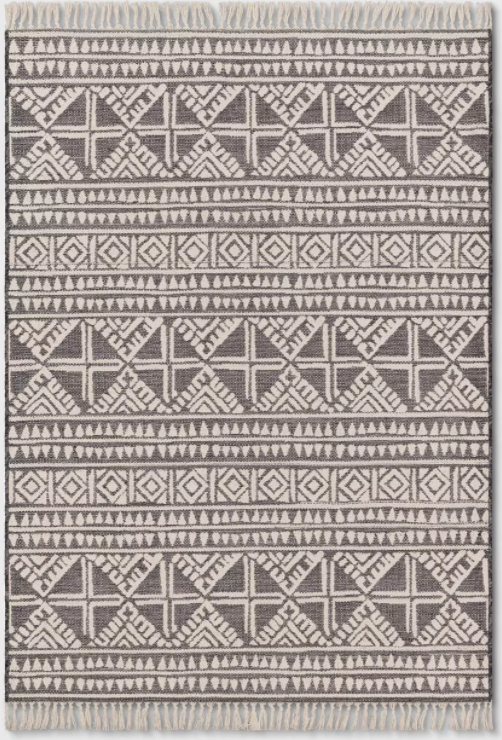 Size 5'x7' Tasseled Outdoor Rug Charcoal - Opalhouse™