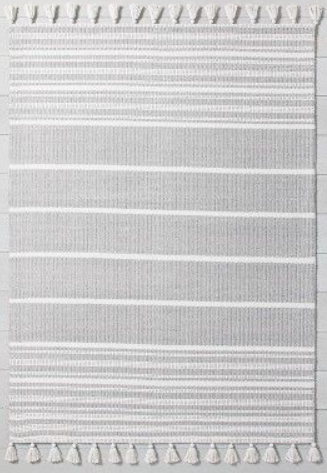 Size 7'x10' Grey Striped Area Rug With Tassels - By Hearth & Hand With Manglia