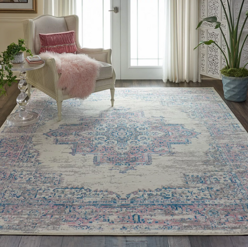 7' x 10' Color Ivory/Pink Nourison Medallion Area Rug