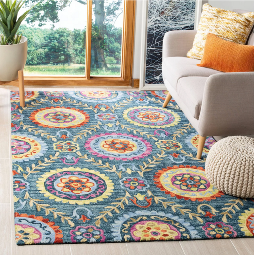 Size 3'X5' Color Blue/Multi-Colored Geri Floral Hooked Rug - Safavieh