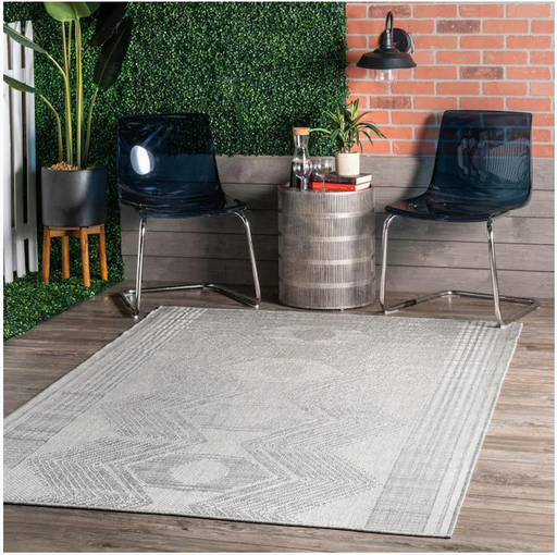 nuLOOM Ranya 5 x 8 Light Gray Indoor/Outdoor Geometric Area Rug