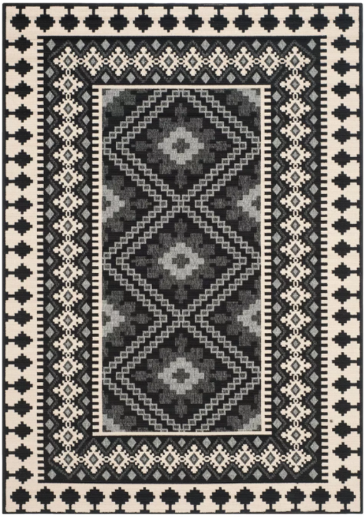 "Size 5'3""X7'7"" Color Black Nadir Indoor/Outdoor Rug - Safavieh"