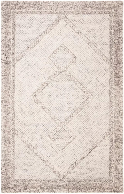 Size 5' x 8' Color Ivory/Grey Abstract Hand Tufted Rug - Safavieh