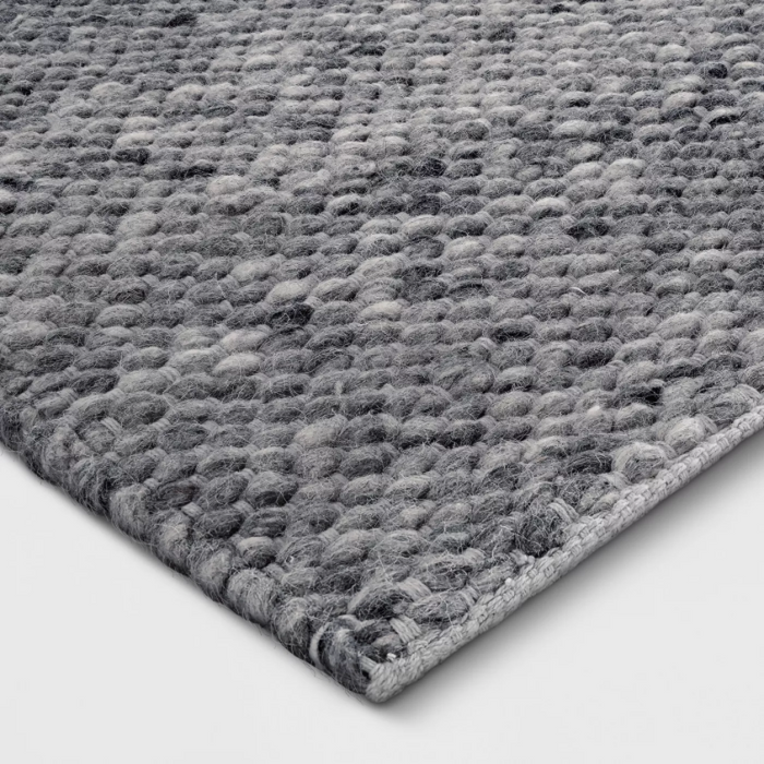 Size 7'X10' Color Charcoal Heather Chunky Knit Wool Woven Rug - Project 62™