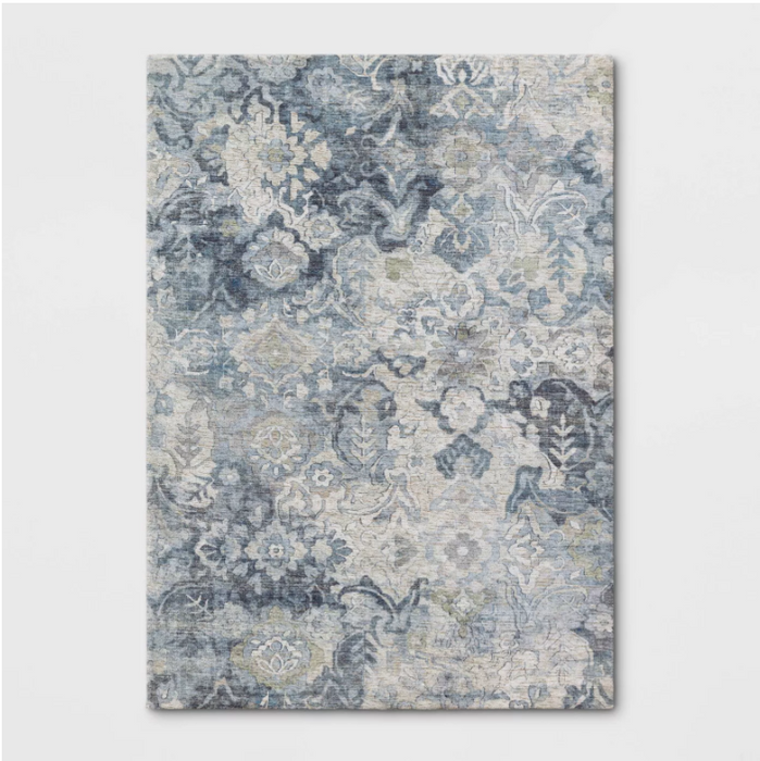 Size 5'x7' Distressed Floral Area Rug Blue - Threshold™