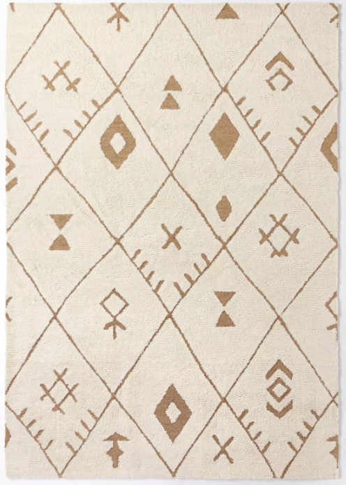 Size 7'x10' Claybourne Hand Tufted Geometric Shag Two Tone Diamond Wool/Jute Area Rug Ivory - Threshold™ designed with Studio McGee