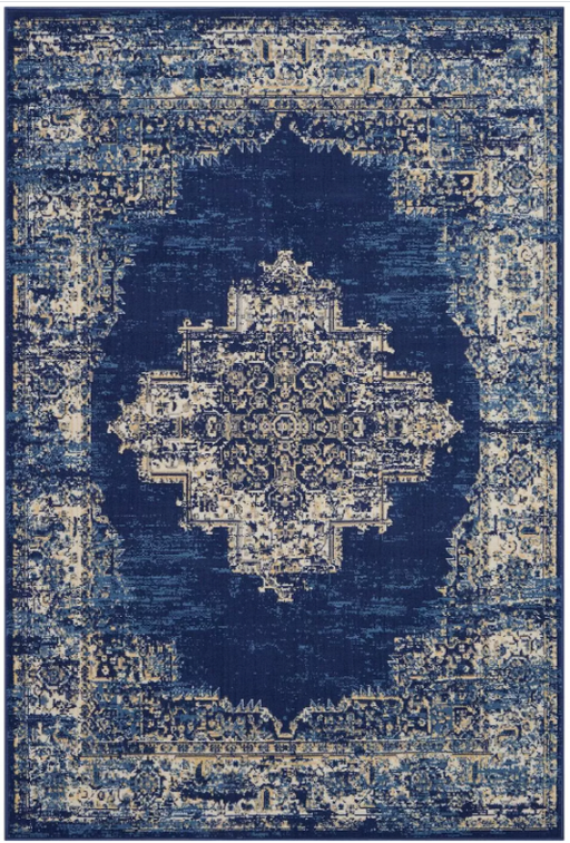 Size 6' x 9' Color Navy Blue Nourison Grafix GRF14 Center Medallion Area Rug