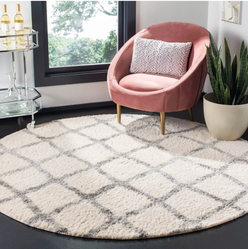 "Size 6'7"" Round Color Ivory/Gray Lettie Rug - Safavieh"