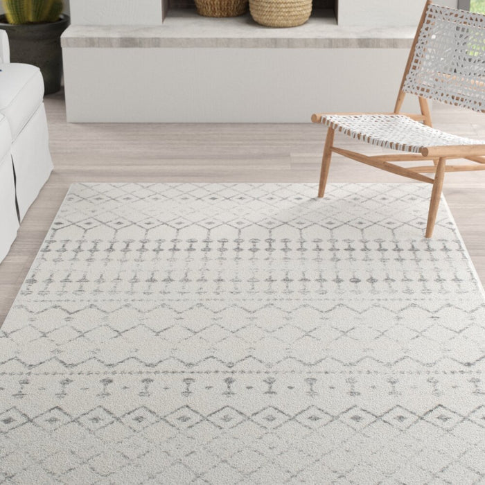 "Size Rectangle 6'7"" x 9' Lucienne Geometric Gray Area Rug By Mistana™"