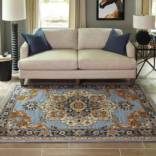 5' X 8' Blue Momeni Ibiza Wool Area Rug