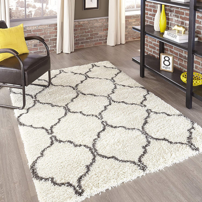 5x8 Ivory Momeni Rugs Maya Collection, Ultra Thick Pile Shag Area Rug