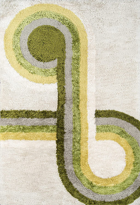 5x8 Green Novogratz Retro Collection Bullseye Shag Area Rug